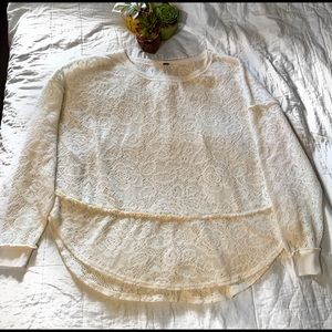 Free People Soft Lace Detailed Sweater Size XS